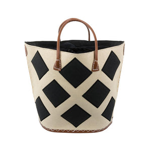 Natural tote with black diamonds