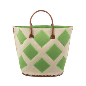 Natural tote with lime green diamonds