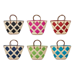 Diamond straw collection with all six totes, black, pink, red, navy,