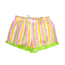 Front view of our Lime Stripe Lounge Shorts