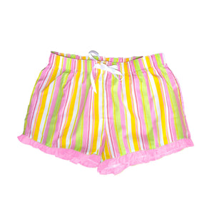 Front view of our Pink Stripe Lounge Shorts