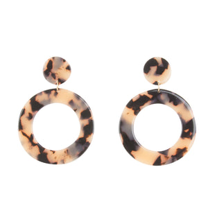 Front view of our Circle Blond Tortoise Earrings