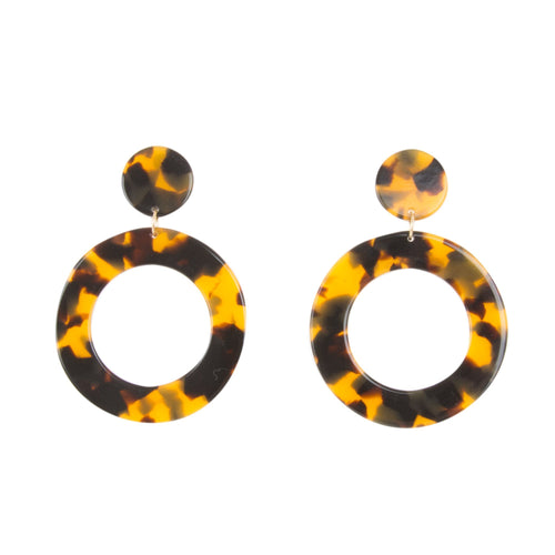 Front view of our Tortoise Circle Earrings