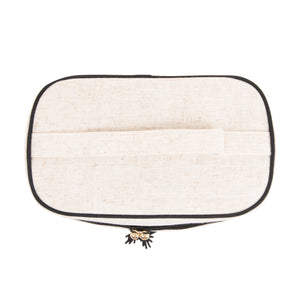 Monogrammed Linen Train Case Cosmetic Bag