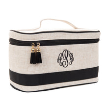 Load image into Gallery viewer, Linen Train Case Cosmetic Bag