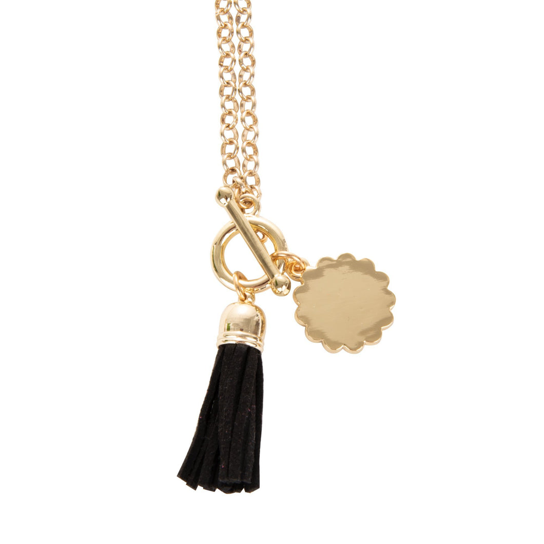 View of our Back Tassel Necklace with Scallop Disc
