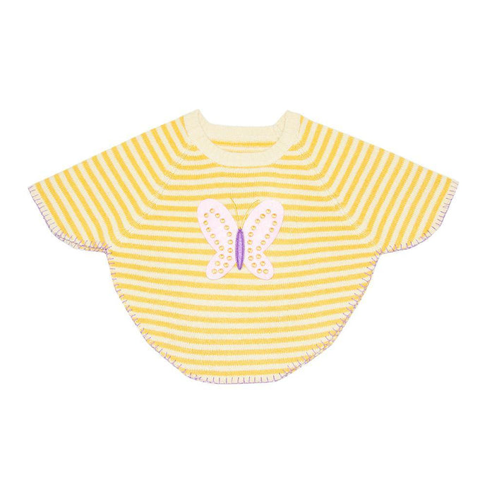 Front view of our Yellow Butterfly Toddler Poncho