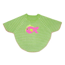 Load image into Gallery viewer, Front view of our Green Fish Toddler Poncho