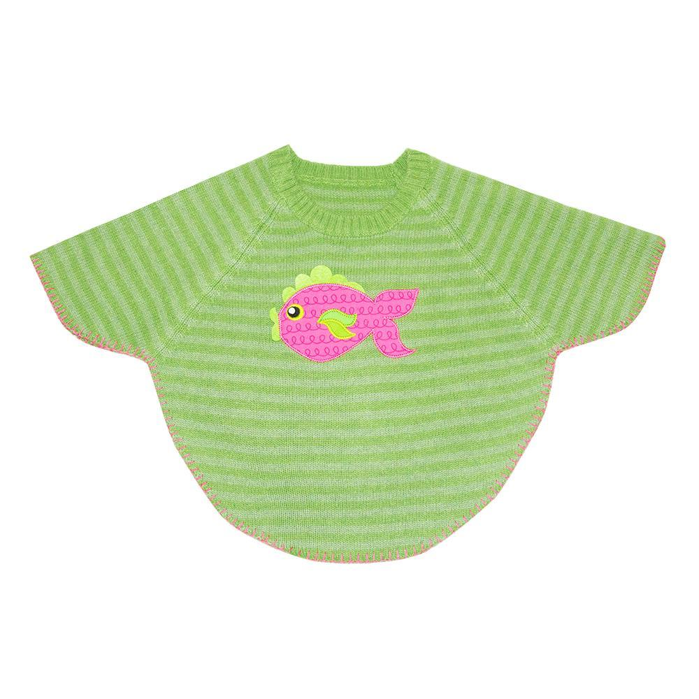 Front view of our Green Fish Toddler Poncho