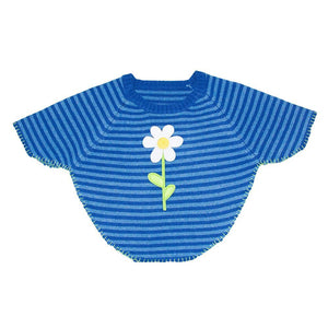 Front view of our Navy Flower Toddler Poncho