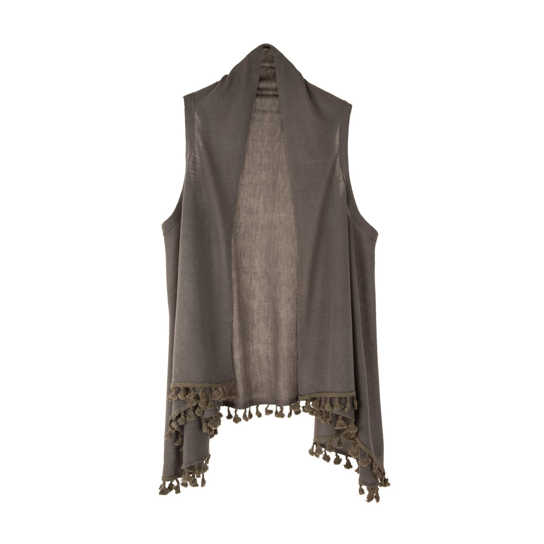 Front view of our Mocha Tassel Vest