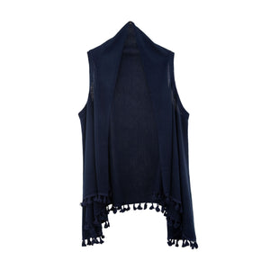 Front view of our Navy Tassel Vest