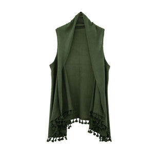 Front view of our Olive Tassel Vest