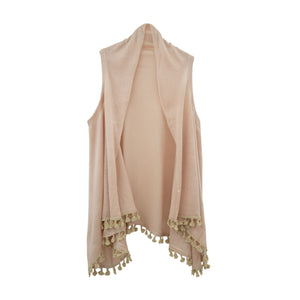 Front view of our Taupe Tassel Vest