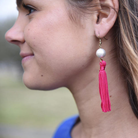 Lifestyle view of our Pearl Tassel Earrings