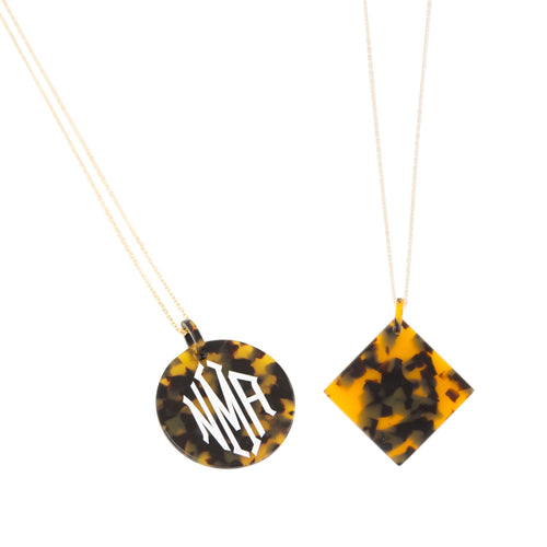 Monogrammed view of our Tortoise Disc Necklaces