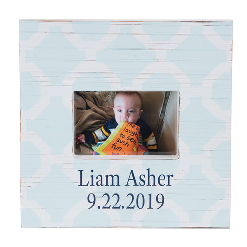 Baby Blue Trellis Picture Frame