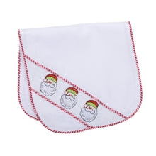Front view of our Holiday Jolly Santa Smocked Burp Cloth