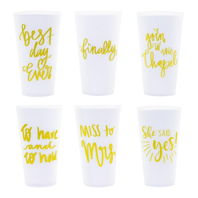 White versed tumblers, all six options