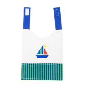 Front view of our Green Sailboat Boy Vinyl Pocket Bib