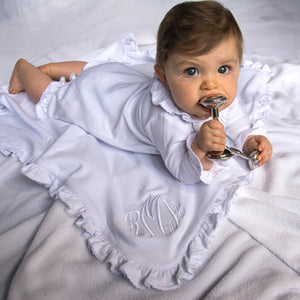 Lifestyle view of our Ruffle Blanket
