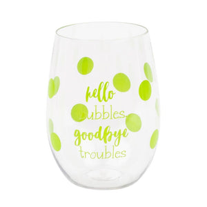 Green polka dot acrylic wine glasses