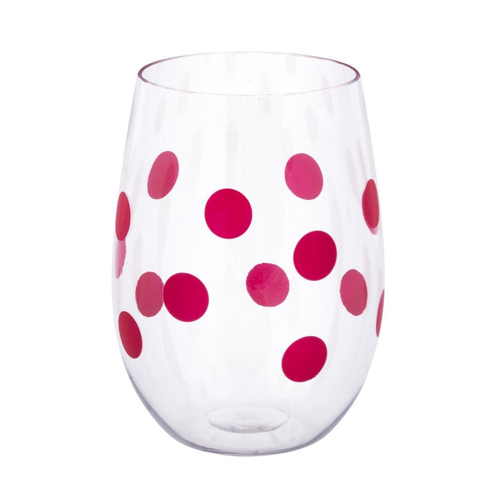 pink polka dots on acrylic wine glass