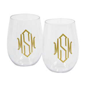 Monogrammed Clear Wine Glasses