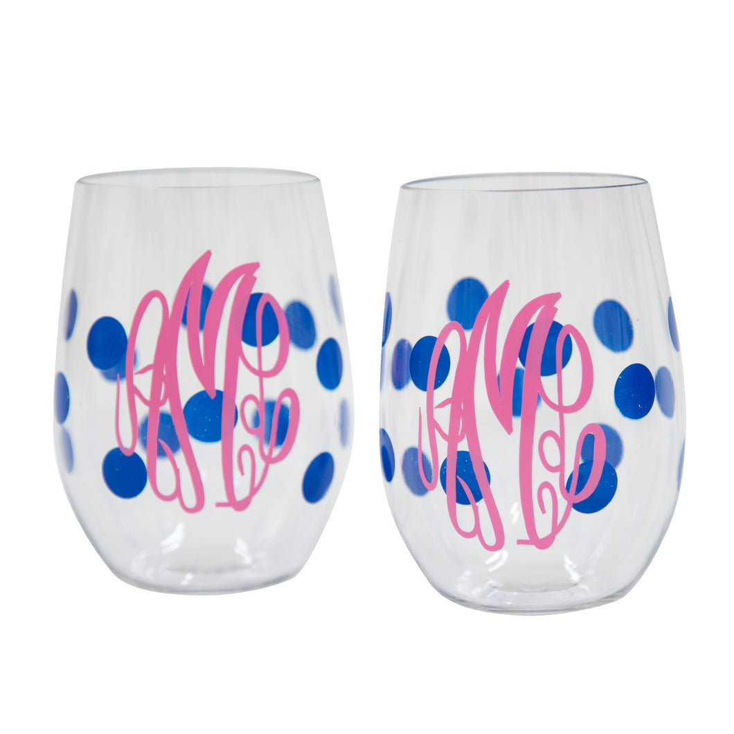 Monogrammed Navy Dot Wine Glasses
