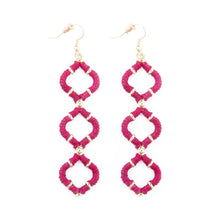 Pink Wrapped Quatrefoil Earrings