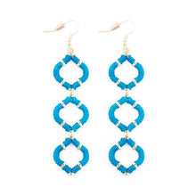 Turquoise Wrapped Quatrefoil Earrings