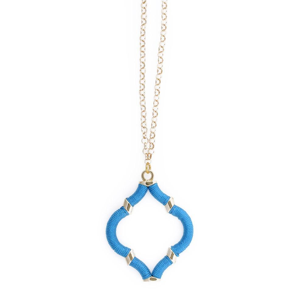 Turquoise Wrapped Quatrefoil Necklace