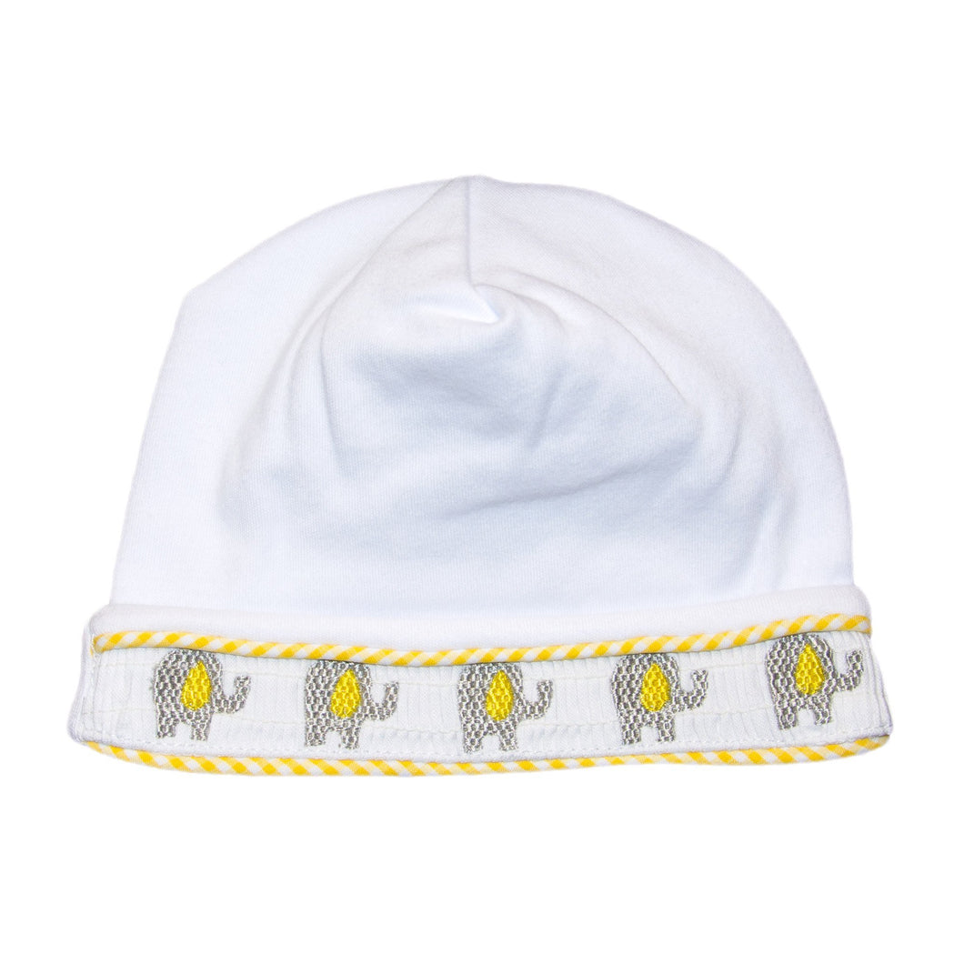 Font view of our Yellow Elephant Smocked Beanie