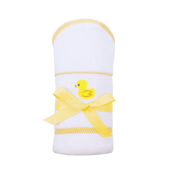 Yellow Duck Smocked Baby Hooded Towel