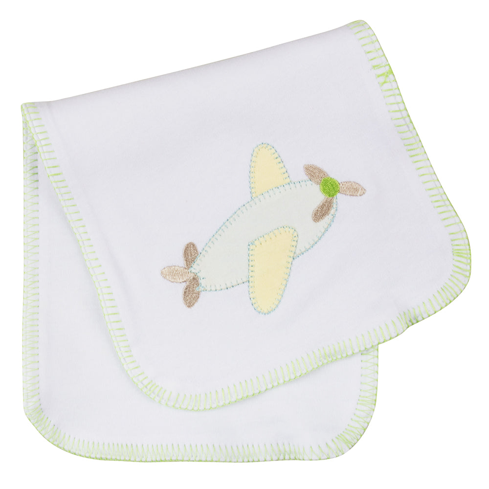 Folded airplane stitch baby burp cloth