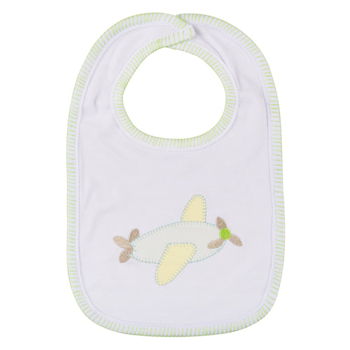 Airplane stitch baby bib