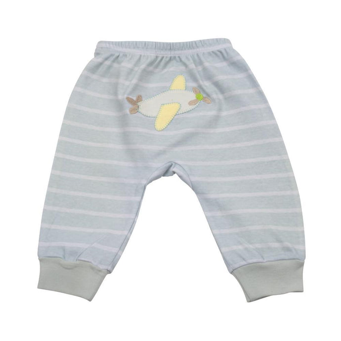 Back of the blue striped baby pants with an airplane applique
