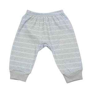 Front of the blue striped baby pants
