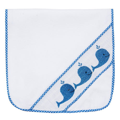 Blue Whale Smocked Burp Cloth