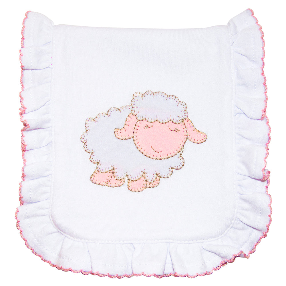 Lamb Ruffle Burp Cloth