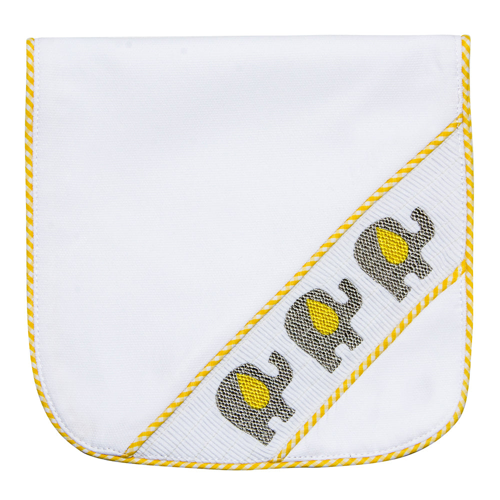 Yellow Elephant Smocked Burp Cloth