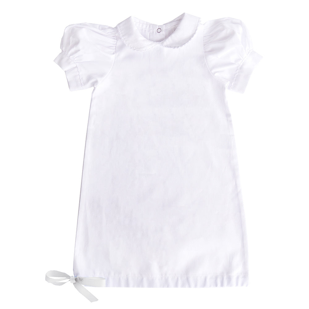 White Scallop Day Gown 0-6 Months