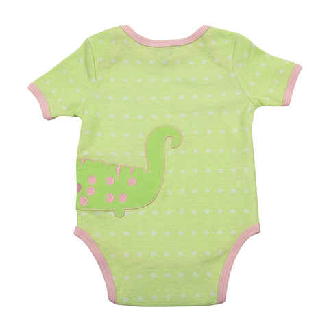 Back of alligator green baby onesie