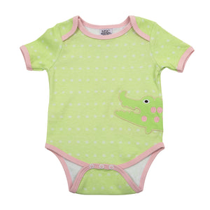 Front of alligator green baby onesie