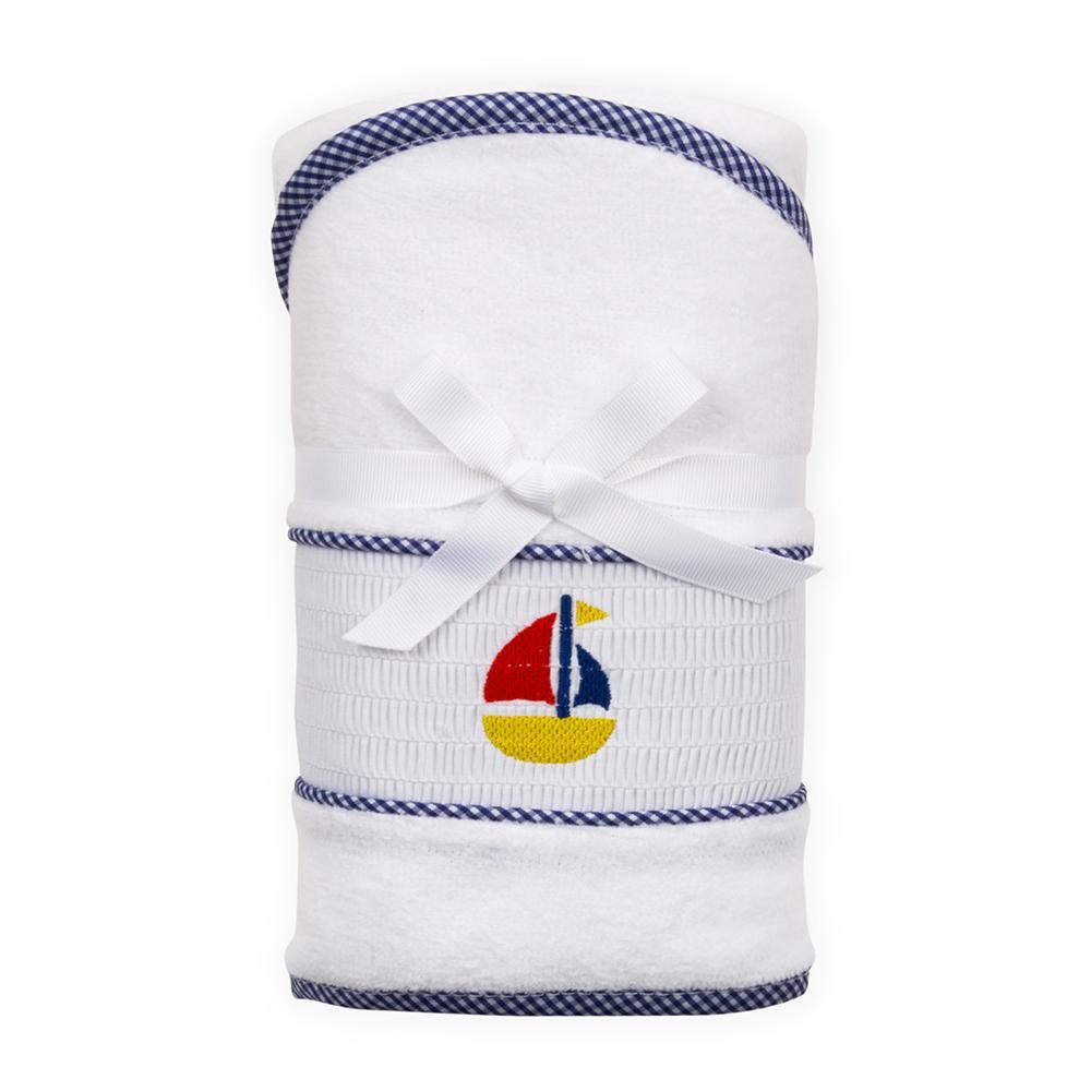 Navy Boat Smocked Hooded Towel