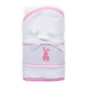 Pink Bunny Smocked Hooded Towel