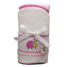 Load image into Gallery viewer, Hot Pink Ladybug Smocked Hooded Towel