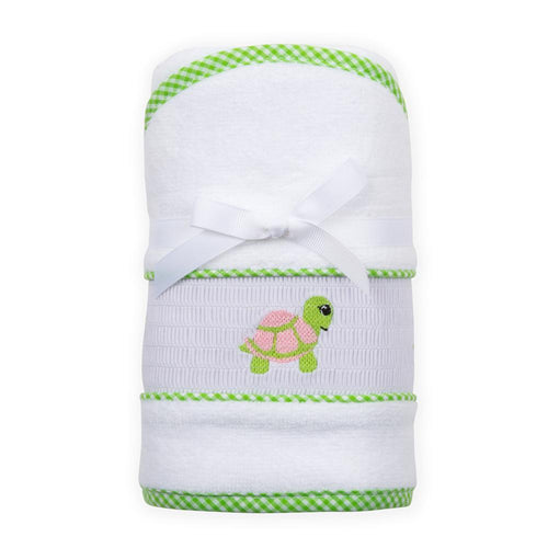 Green Turtle Smocked Hooded Towel
