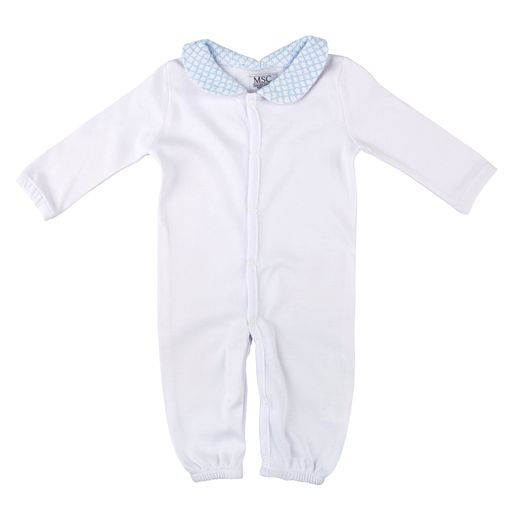 Blue Smocked Convertible Onesie 0-6 Months
