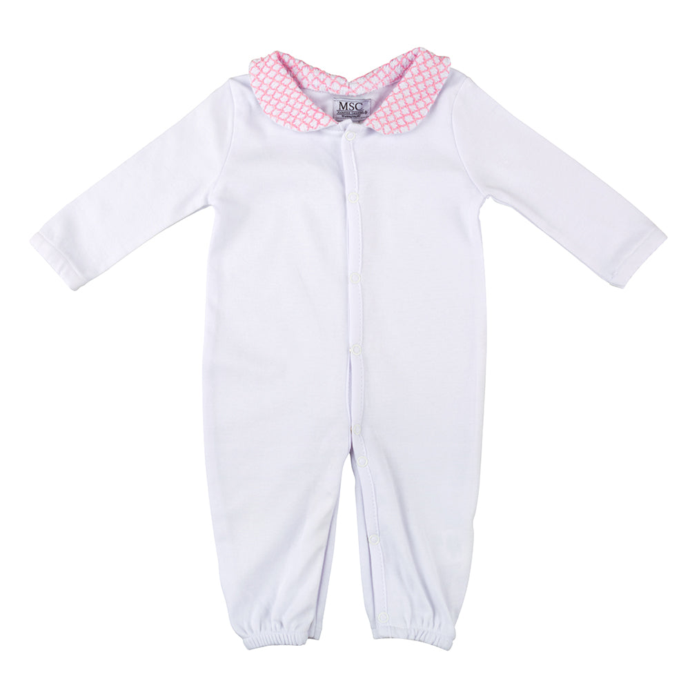 Pink Smocked Convertible Onesie 0-6 Months